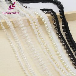 Lucia crafts 1yard/lot white/black Beaded Lace Trim Tape Fabric Ribbon DIY Collar Sewing Garment Headdress materials 050025101
