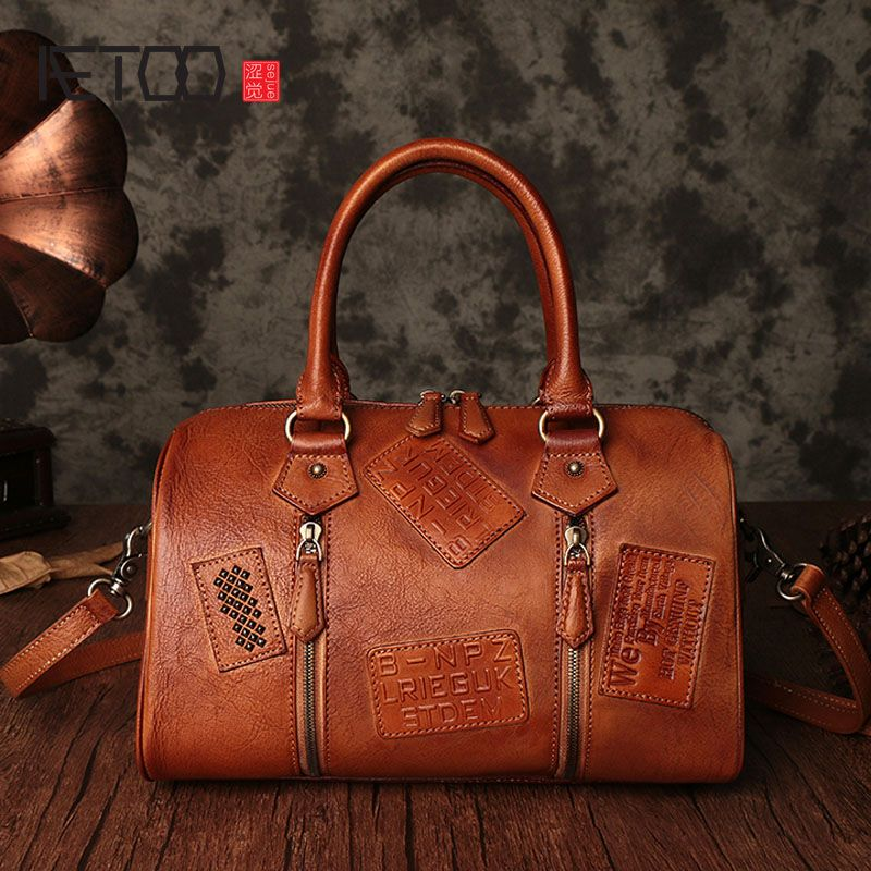 AETOO Retro handmade handbags casual large-capacity portable shoulder Messenger bag genuine leather bag female