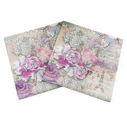 Papel del almuerzo Napkins-20pcs 33x33 cm impreso servilleta de papel para decoupage Rosa flor y Torre Eiffel servilletas para la boda