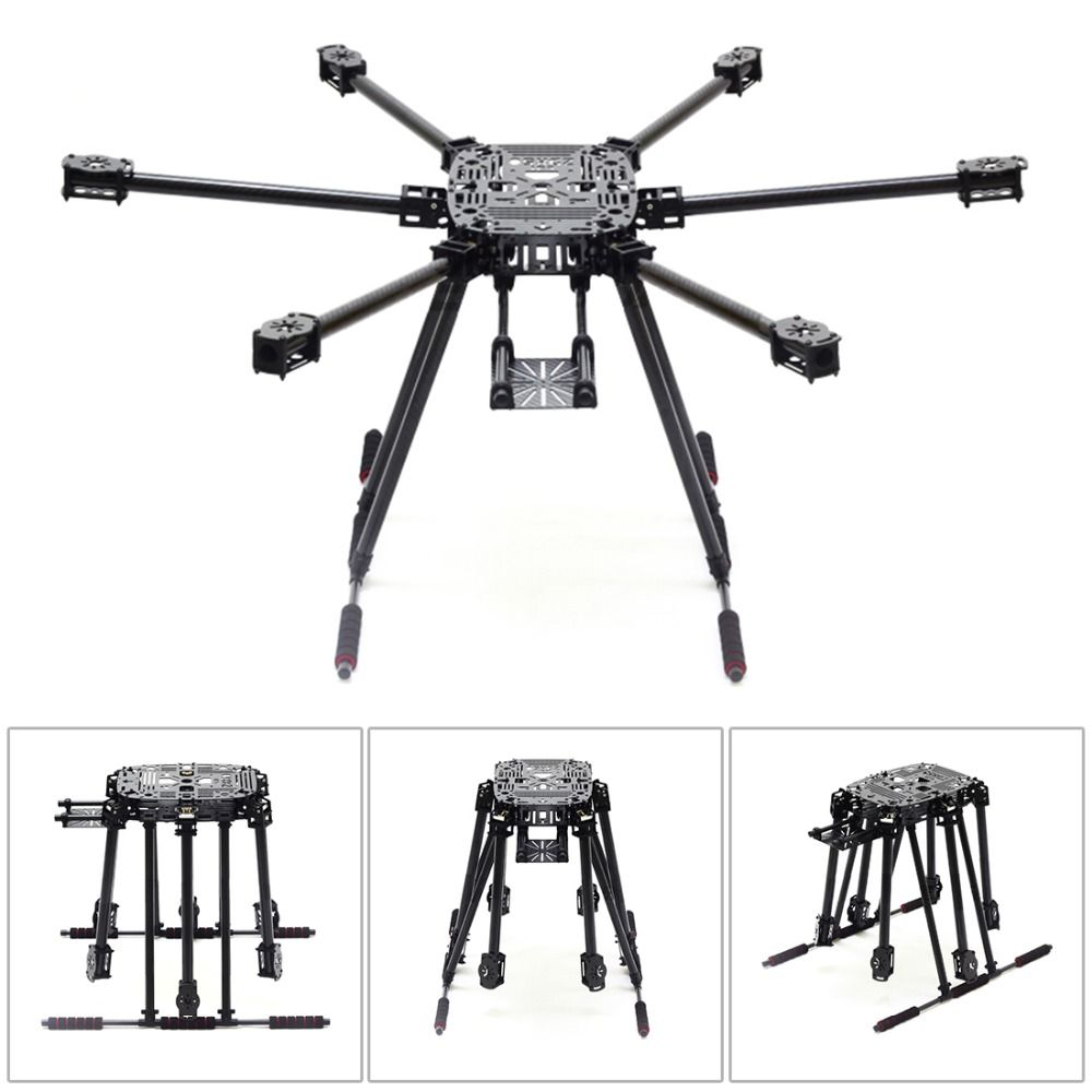 ZD850 Full Carbon Fiber ZD 850 Frame Kit with Unflodable Landing Gear Foldable Arm for FPV DIY Aircraft Hexacopter JMT