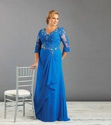 Penjualan Panas, Ukuran Ibu Pernikahan Gaun dengan Setengah Lengan V-neck Sifon Formal Wanita Mom Dress Custom Made
