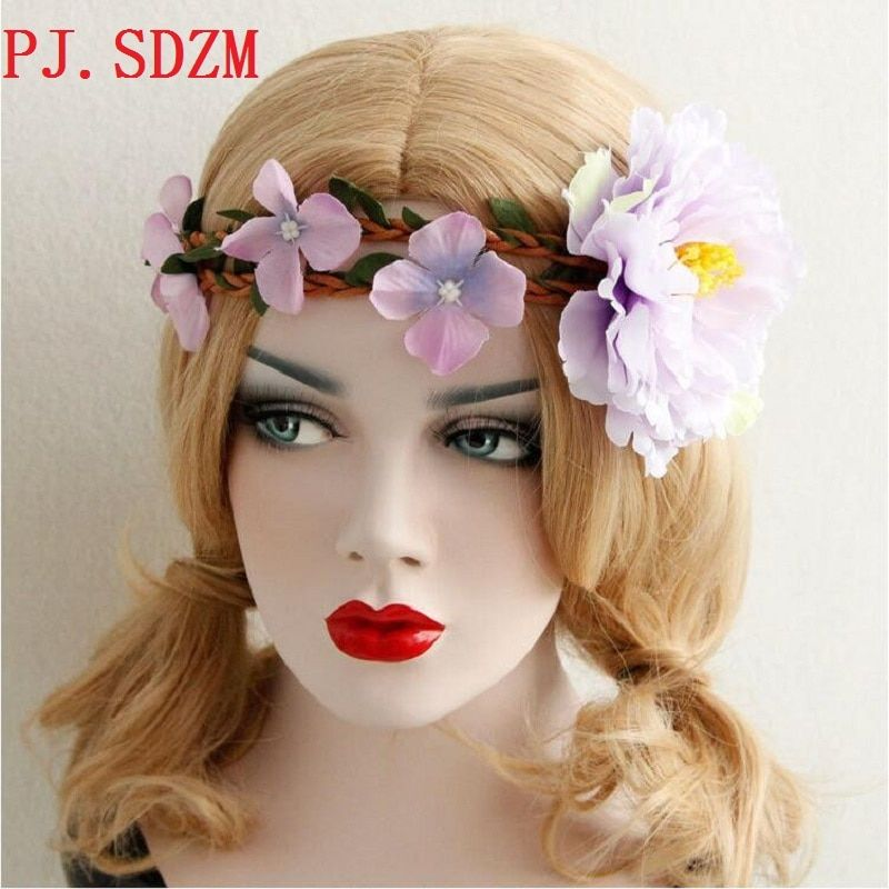 New Vintage Bohemia Style Beauty Fresh Purple Flower Hairbands Hand Made Bridal Hair Accessories Girl Garland Headbands FG0119