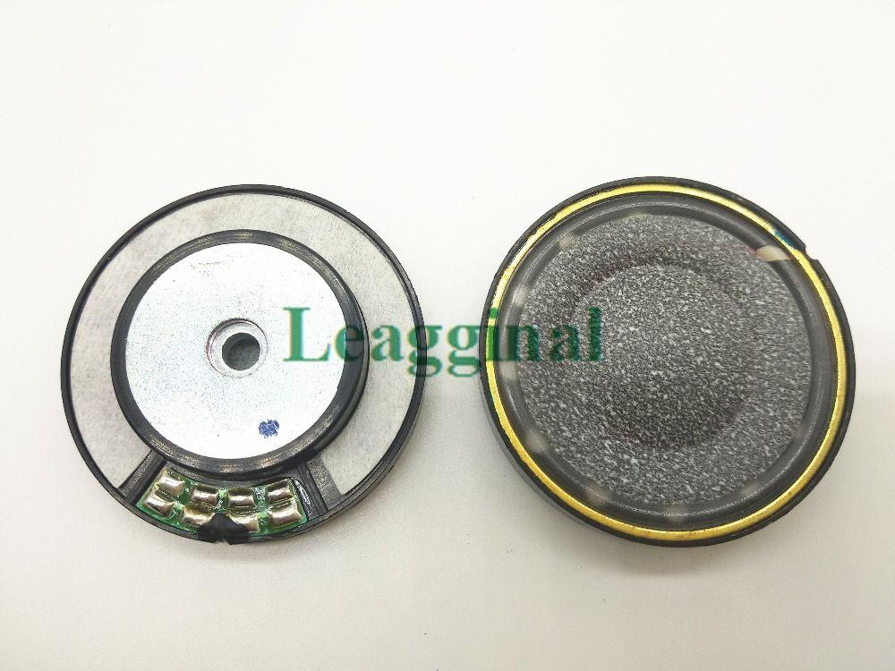 40mm haut-parleur noir en laine de carbone cône papier milieu trou en laiton anneau casque haut-parleur, 16ohms 1 paire = 2 pièces