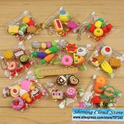 1bag/lot Cartoon PVC bag simulation eraser/food /tool/animal erasers/creative stationery /10model for choice