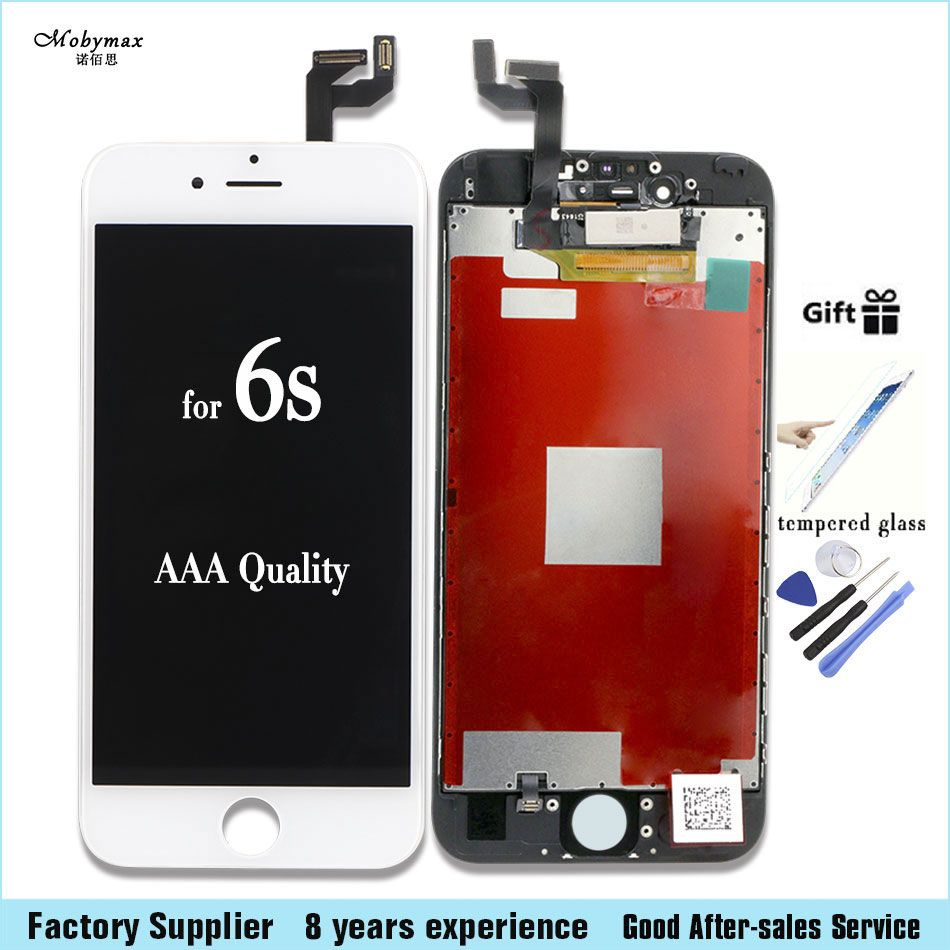 Mobymax 100% Test Work Touch Screen for iPhone 4s 5 5s 6 6s LCD Display Complete Replacement factory big promotion+Tempered film