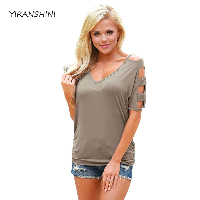YIRANSHINI 2018 New Coffee <font><b>Color</b></font> Summer Fashion Short Sleeve O-Round Neck Floral Printed T-shirt LC250067-1