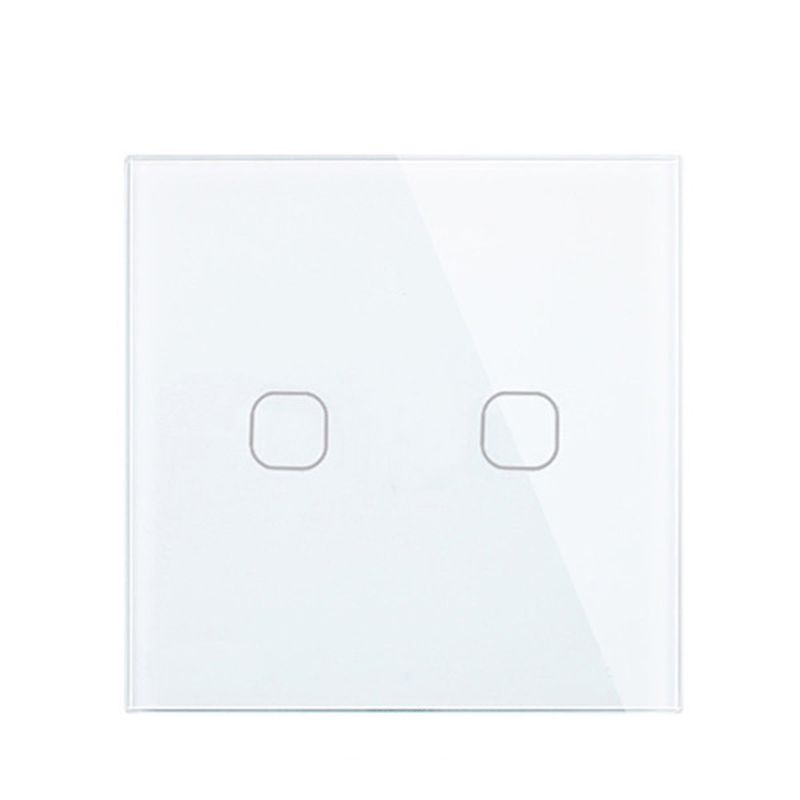 Touch Switch White Crystal Glass Panel AC220V 2Gang 1Way Light Wall Touch Screen Switch EU/UK EU/UK standard White Black Gold