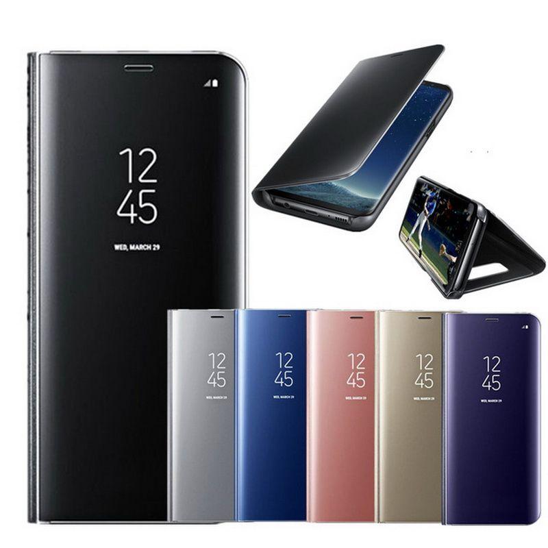 Spiegel Flip Ledertasche Für Samsung Galaxy Note 8 S6 S7 Rand S8 Plus Klarsichtfenster Intelligente Abdeckung Für iphone 6 6 s 7 8 Plus X
