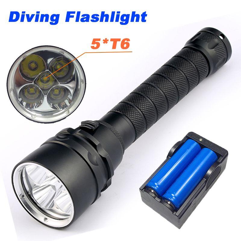 10000 <font><b>Lumens</b></font> Diving Flashlight Torch 5*T6 Diving LED Flashlight 200M Underwater Waterproof Light Tactical Flashlight Lanterna