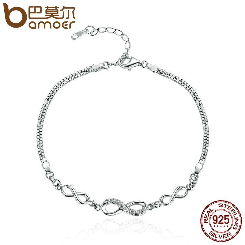 BAMOER Authentic 925 Sterling Silver Endless Love Infinity Chain Link Adjustable Women Bracelet Luxury Silver Jewelry SCB037