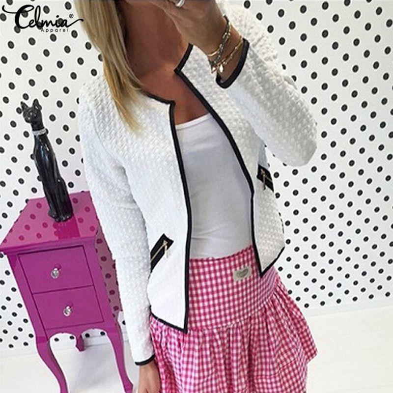 4XL Celmia 2018 Autumn Winter Women Long Sleeve Smart Business OL Office Suit Jacket Feminino <font><b>Outwear</b></font> Check Short Coat Plus Size