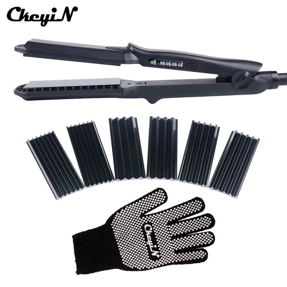 CkeyiN 4In1 Hair <font><b>Curling</b></font> Iron+Heat Resistant Glove Ceramic Hair Curler Roller Electric Hair Straightener Crimper Corrugated Curl