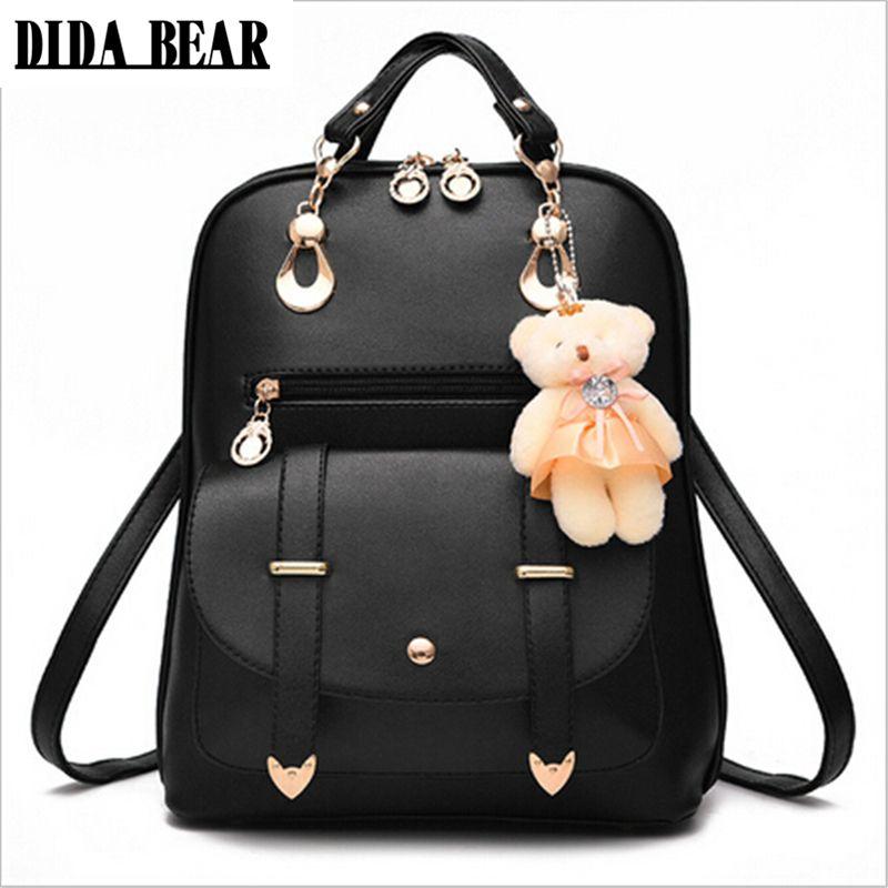 DIDA медведь 2017 Для женщин рюкзак новых студентов рюкзак подростков Обувь для девочек Корейский стиль рюкзак с медведем высокое качество отд...