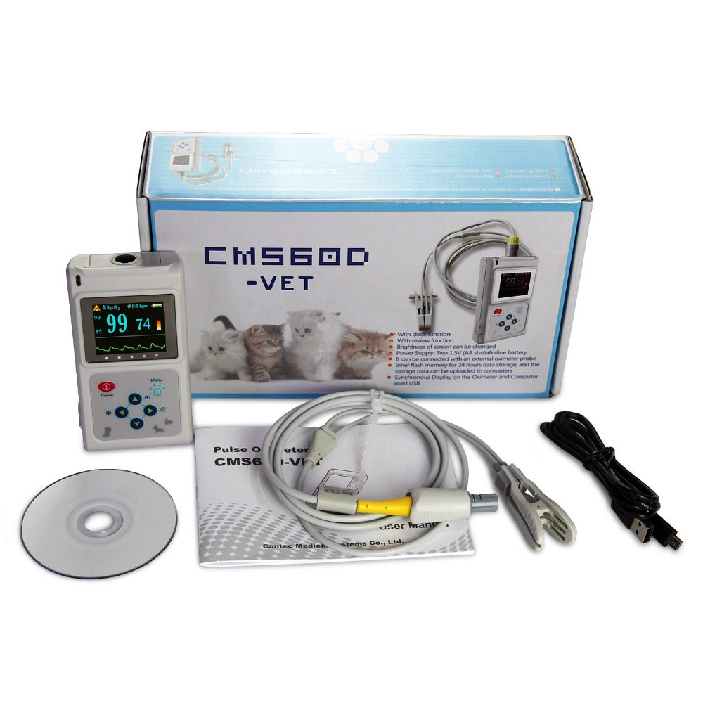 Handheld Veterinär Pulsoximeter CMS60D-VET mit Zunge SpO2 Sonde + PC Software CONTEC