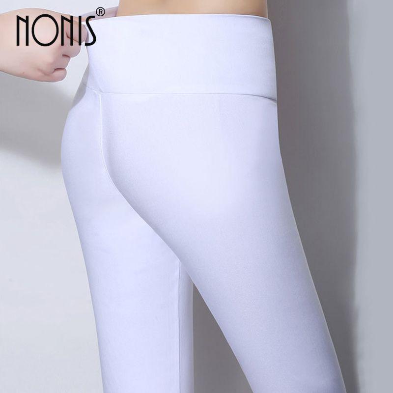 Nonis Taille Haute Femmes Skinny Leggings 2018 Bonbons Couleur Stretch Plus La Taille Femelle Crayon Pantalons Dames Leggings Plus La Taille 6XL