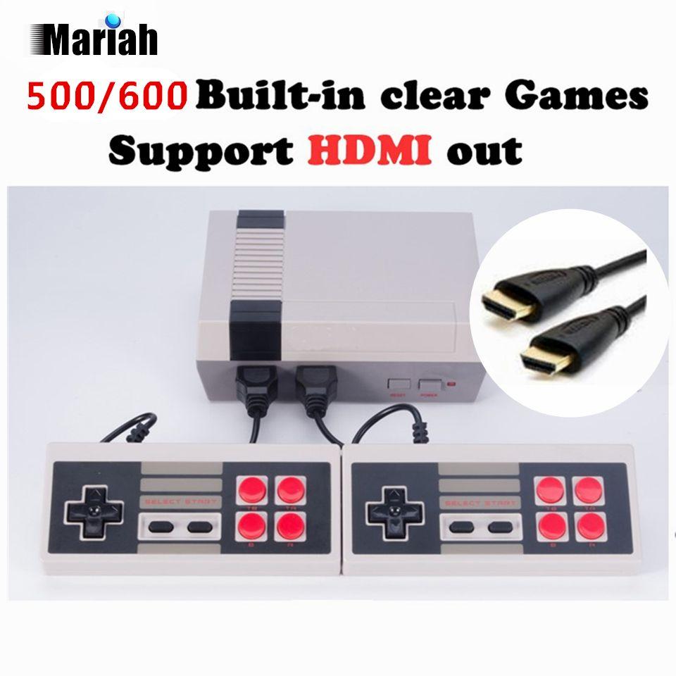 Ретро Семья HDMI Mini ТВ игровой консоли HD видео классический Портативный игры игроки встроенный 500/600 игр HD двойной геймпад управления