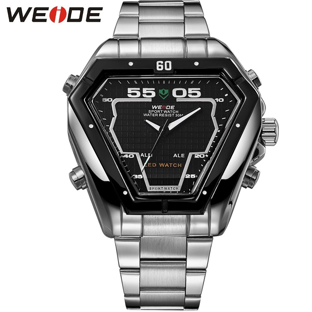 WEIDE Analog Digital Display LED Sport Watch For Men 3ATM Water Resistant Stainless Steel Back Quartz Movement Wristwatches