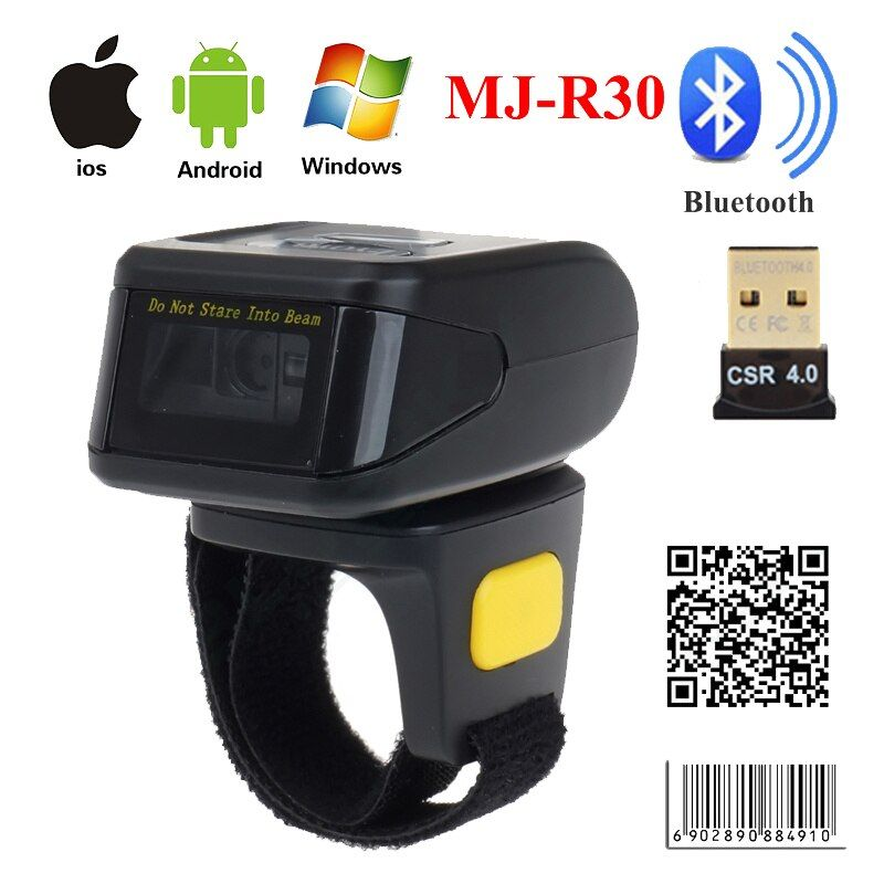 MJ-R30 Portable Bluetooth Ring 2D Scanner Barcode Reader For IOS Android Windows PDF417 DM QR Code 2D Wireless Scanner