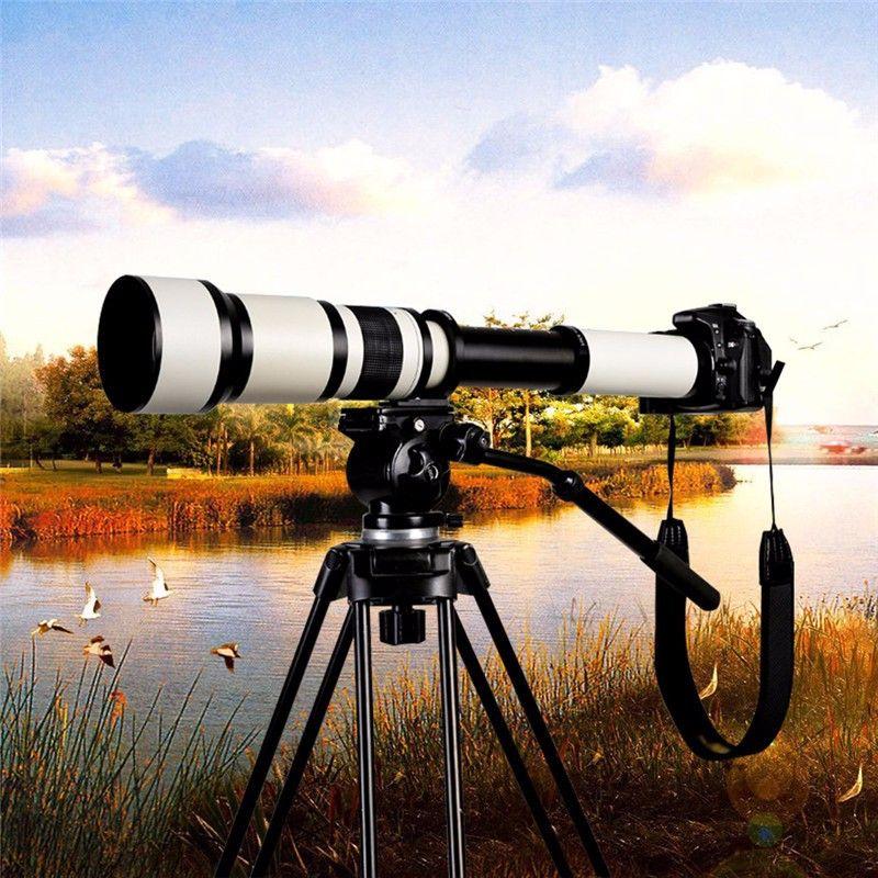 Lightdow 650-1300mm F8.0-F16 Super téléobjectif Zoom manuel + bague adaptateur T2 pour appareils photo reflex numériques Nikon Sony Pentax