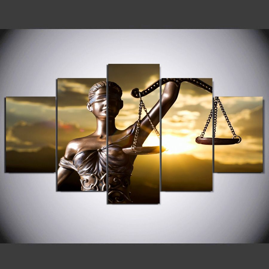 5 piece Canvas Painting with the image of Themis, goddess of justice HD Printed room decor wall pictures for bedroom ny-1278
