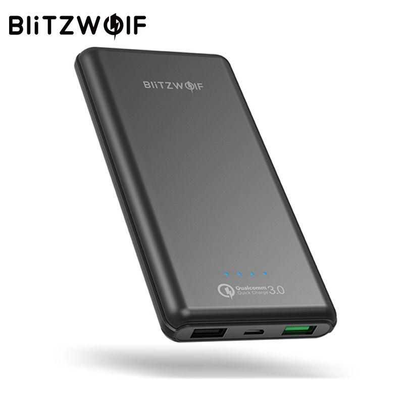 BlitzWolf 10000 mAh QC3.0 Puissance Banque Double USB Chargeur 18 W Polymère rapide Chargeur Powerbank Batterie Externe Pour iPhone X 8 7