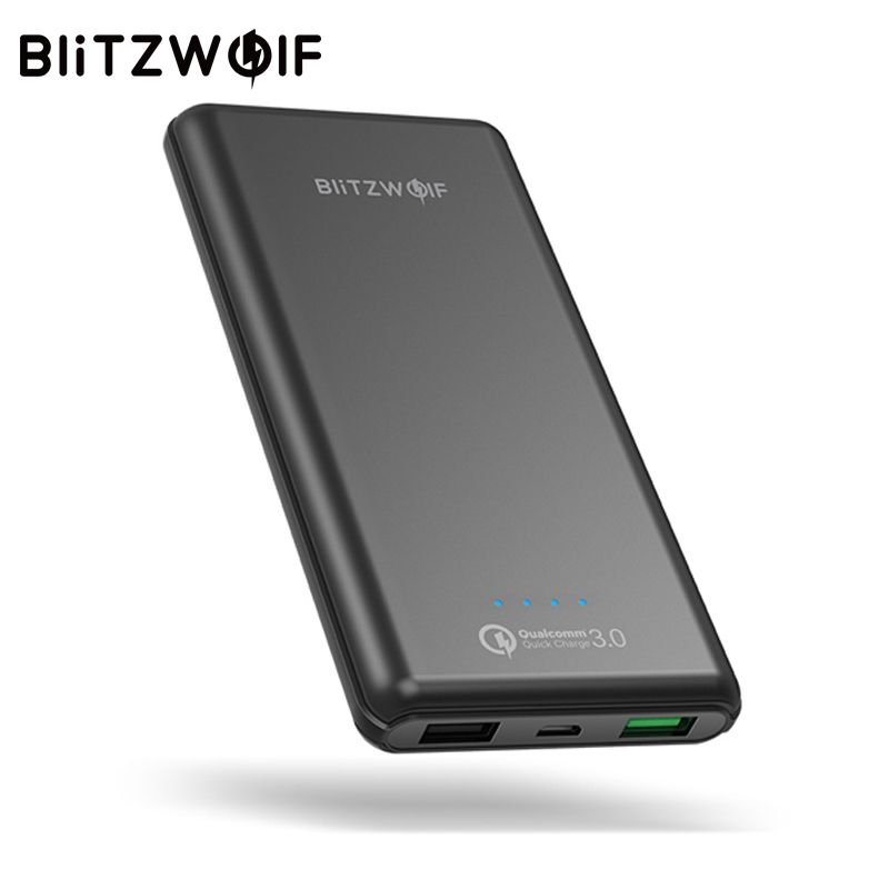 BlitzWolf 10000mAh QC3.0 Power Bank Dual USB Charger 18W Polymer Fast Charger Powerbank External Battery Pack For iPhone X 8 7
