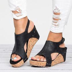 Femmes Sandales 2018 Cales Chaussures Femmes Talons hauts Sandales Avec Plate-Forme Chaussures Femme Wedge Talons Peep Toe Femmes Chaussures D'été