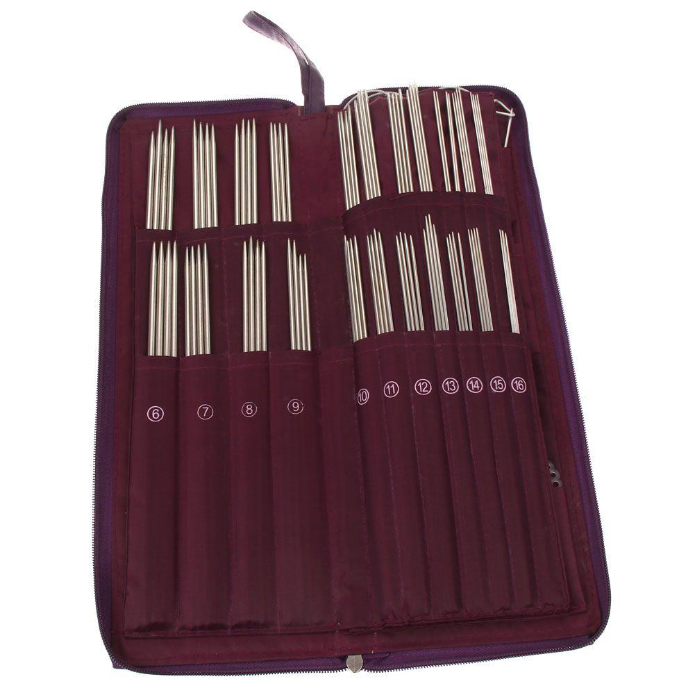 104 pièces aiguilles à tricoter 20 tailles différentes en acier inoxydable droite circulaire couture tissage aiguilles Crochet crochets sac à tricoter