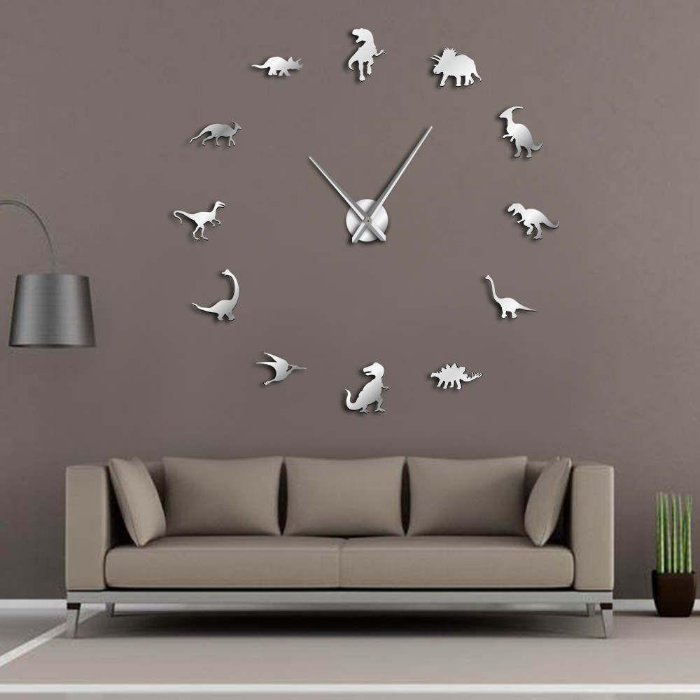 Dinosaures du jurassique Mur Art T-Rex DIY Grande Horloge Murale Chambre D'enfants Décoration Géant Sans Cadre Horloge Murale Dino Moderne horloge Montre
