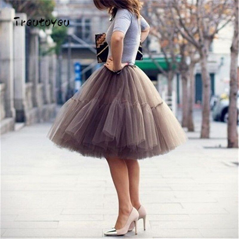 5 <font><b>Layers</b></font> 55cm Tutu Tulle Skirt Vintage Midi Pleated Skirts Womens Lolita Petticoat Bridesmaid Wedding faldas Mujer saias jupe