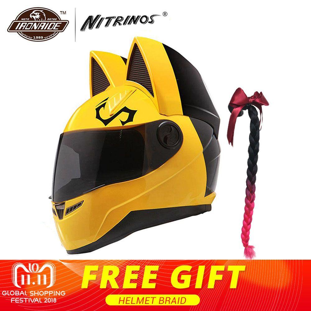 NITRINOS Motorcycle Helmet Women Moto Helmet Cat Helmet Full Face Casque Moto Casco Cat Horns Motorbike Helmet Capacete