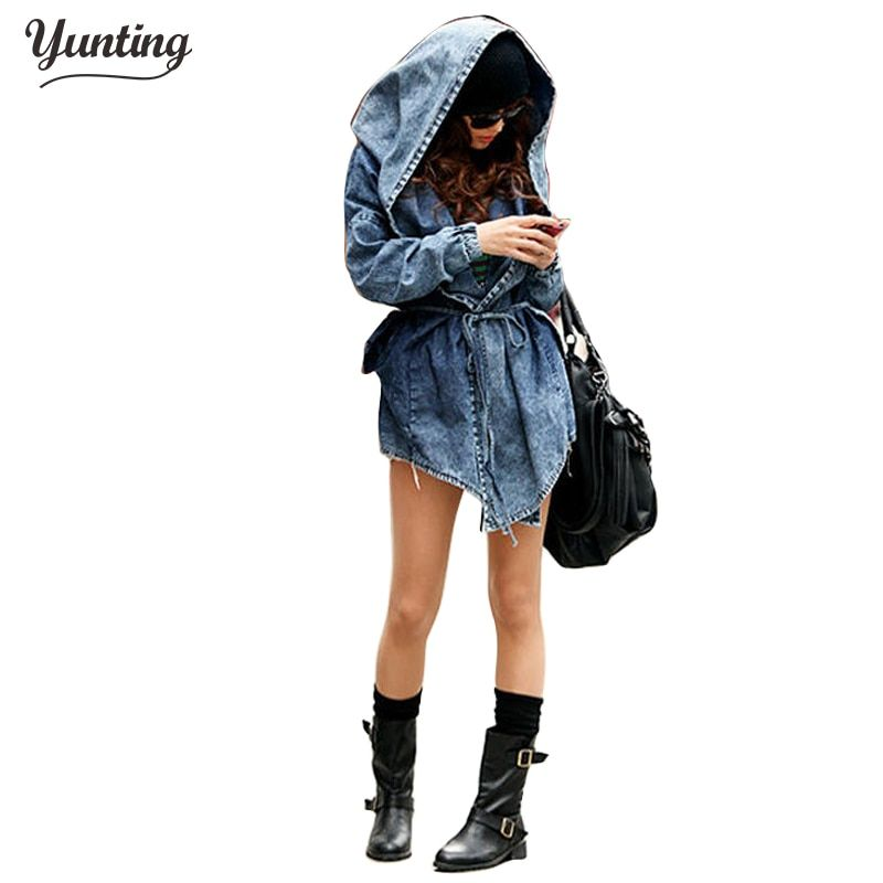 Women Denim Jeans Coat Jacket 2018 New Women Jeans Coats Vintage Long Sleeve Slim Hoody Plus Size Hooded Coat Roupas Femininos