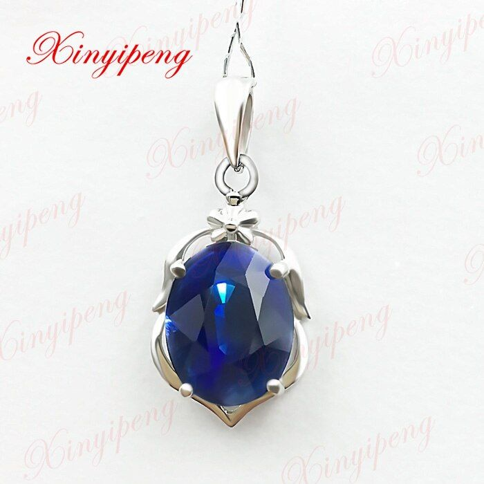 18k white gold with 100% natural sapphire pendant female 3carat Fashion and personality blue