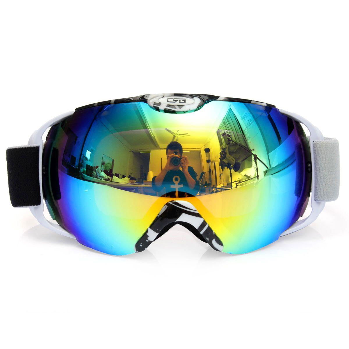 Unisex adultos profesional esférico anti-niebla lente doble snowboard esquí gafas