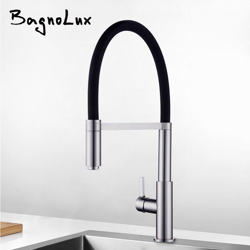Nouvellement breveté conception 360 pivotant 100% en laiton massif mitigeur évier robinet retirer le robinet de cuisine en Nickel brossé