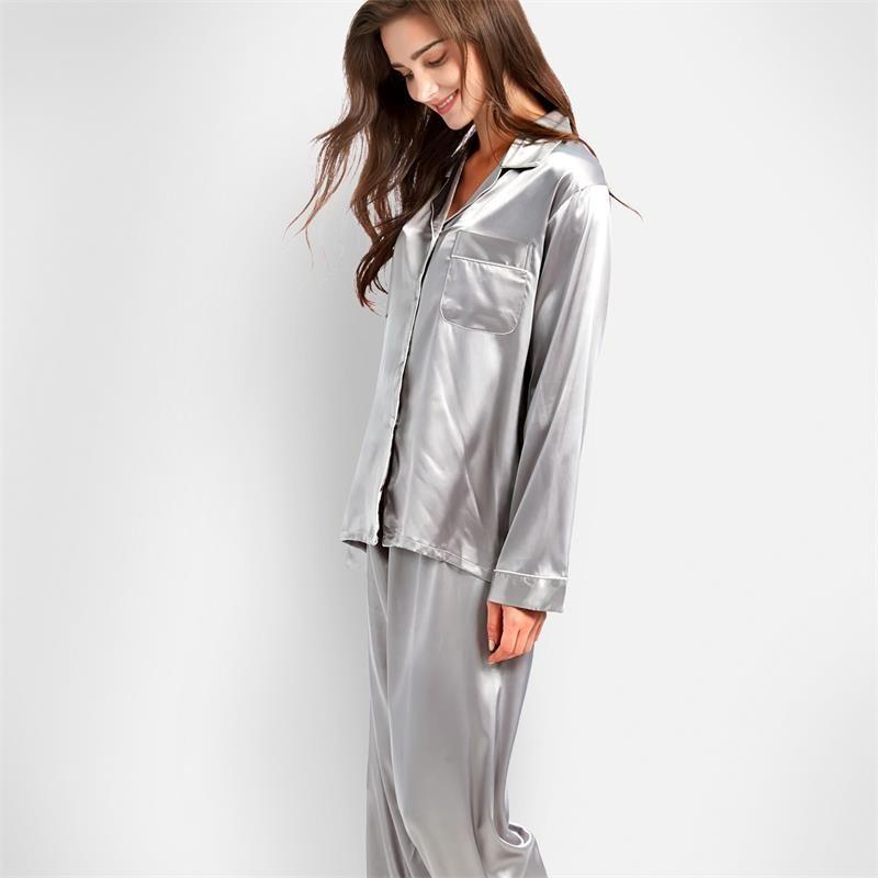 Tony & Candice femmes soie Pyjamas 2 pièces ensemble Satin soie Pijama vêtements de nuit femmes doux Pyjamas costume manches longues chemise de nuit Homewear