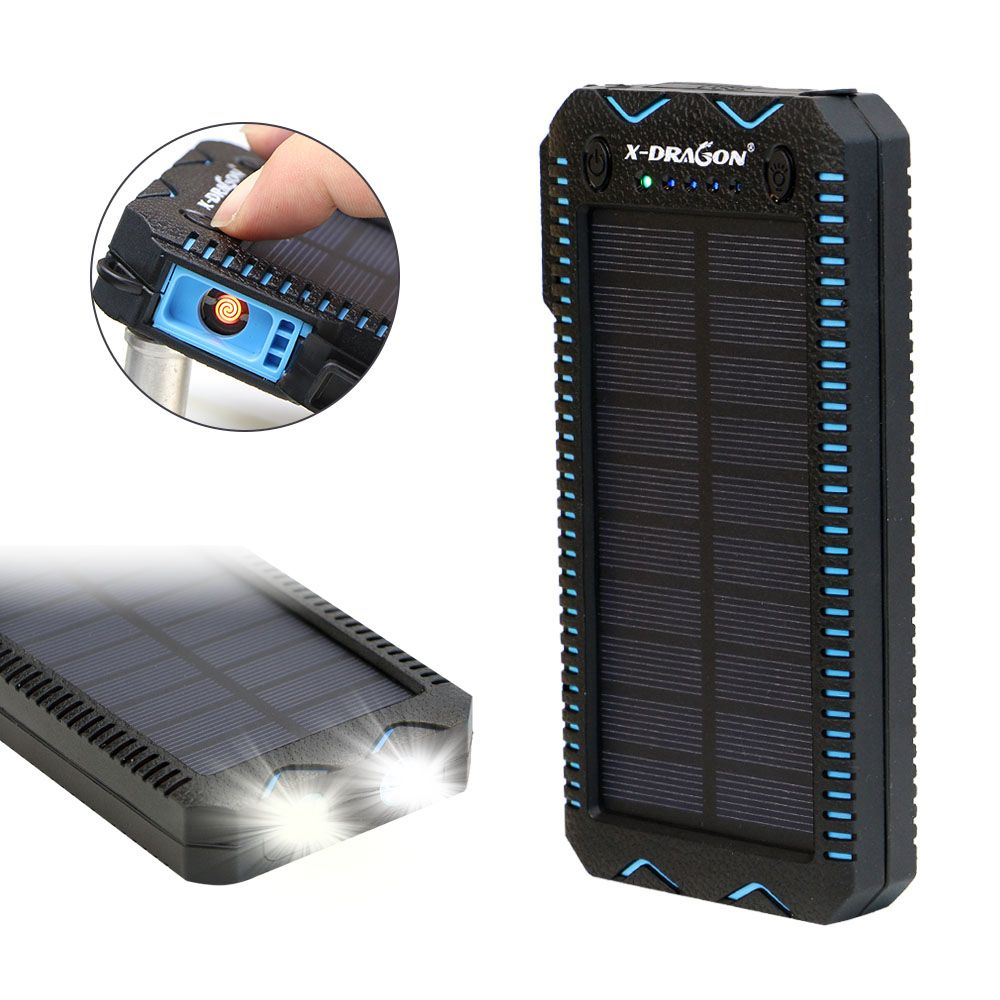 15000mAh Solar Power Bank with Cigarette Lighter Solar Panel Powered Charger for iPhone Huawei Xiaomi Cell Phones Outdoors
