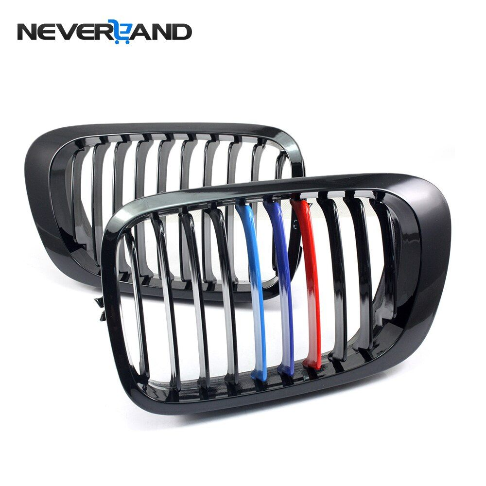 Front Gloss Black M-Color Kidney Grille Grill For BMW 3 Series E46 Touring Saloon 2 Door 1998 1999 2000 2001 D30
