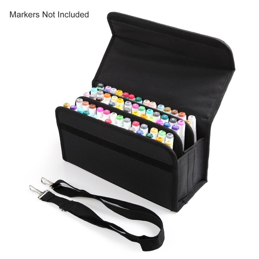 Premium Quality Oxford 80 Slots School Marker Case Markers Bag Holder Marker Pen Painting Draw Gift For kids Student Any Artist