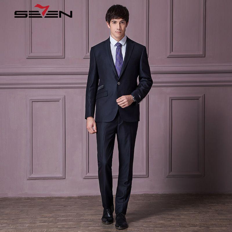 Seven7 Брендовые костюмы для торжественных случаев Для мужчин Темно-синие печатных Свадебный костюм для жениха пиджак мужской Бизнес модные к...