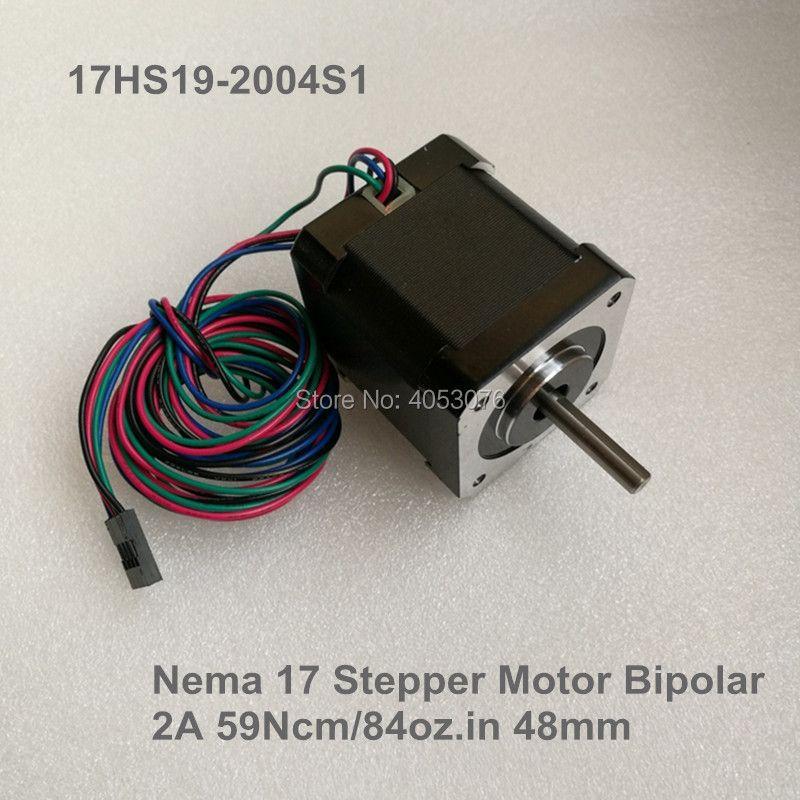 Free shipping 1.8 degree Nema17 stepper motor 17HS19-2004S1 4-Lead /2A/2.8V/59Ncm/84oz.in CNC Mill Cut Engraver / DIY 3D printe