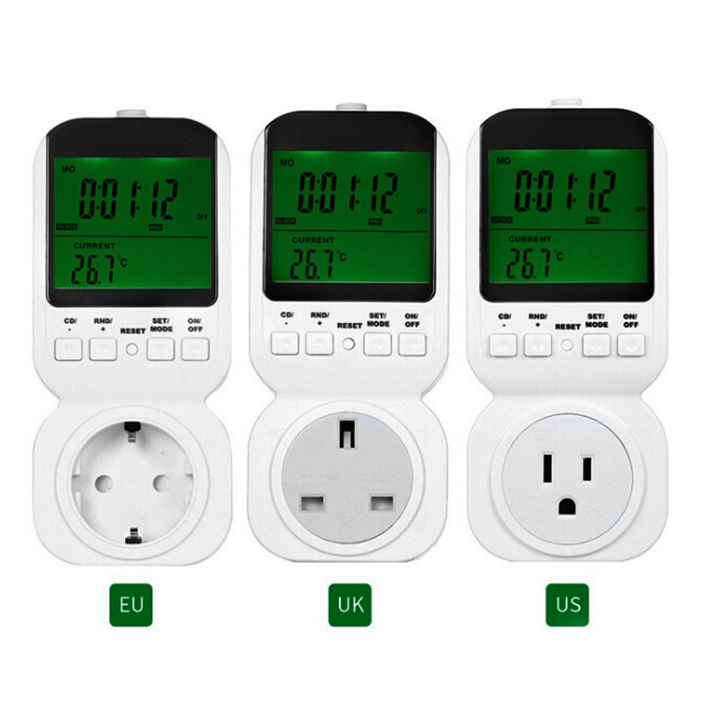TS-4000 Multi-function Thermostat Timer Switch Socket with Sensor Probe LCD Dispaly Green Backlight UK US EU Plug