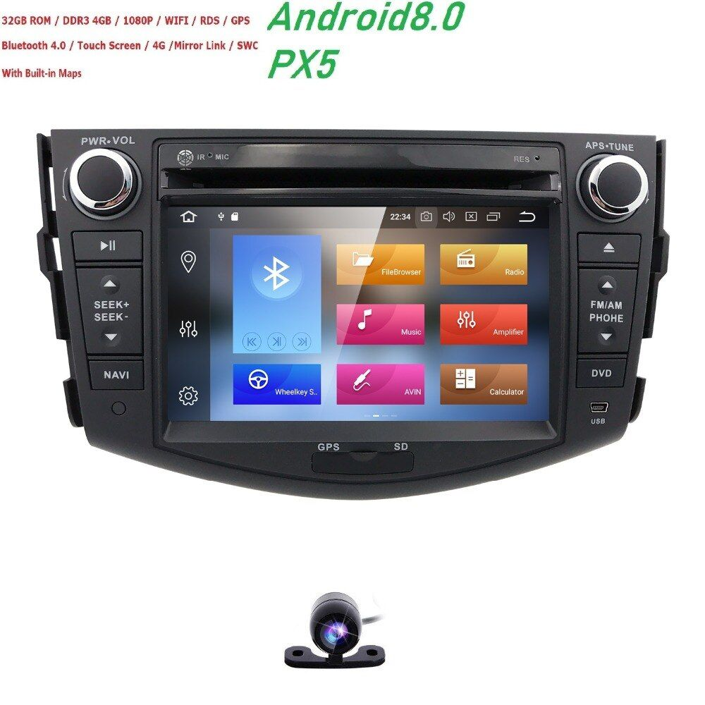 4g+32g Android 8.0 PX5 OctaCore Car Dvd For Toyota Rav4 2007 2008 2009 2010 2011 Radio Stereo Gps Navigation With Steering Wheel