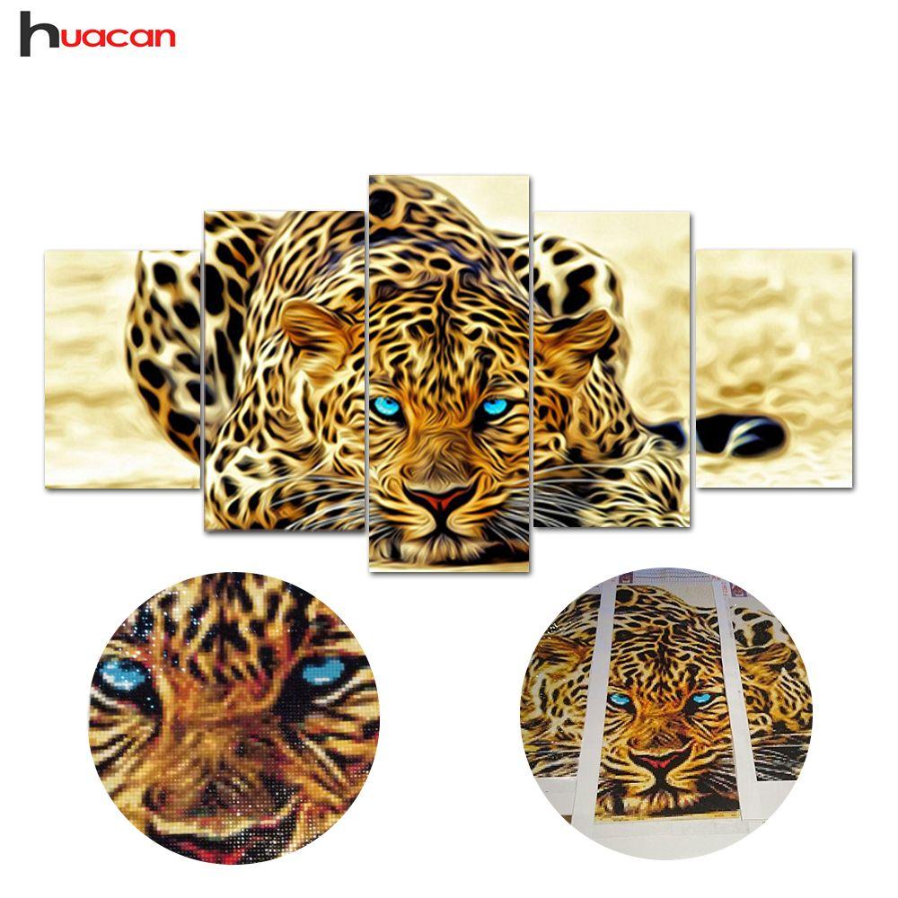 5D diy diamond painting animal tiger pictures of rhinestones 5pcs square cross stitch needlework home <font><b>decorative</b></font> relative gifts