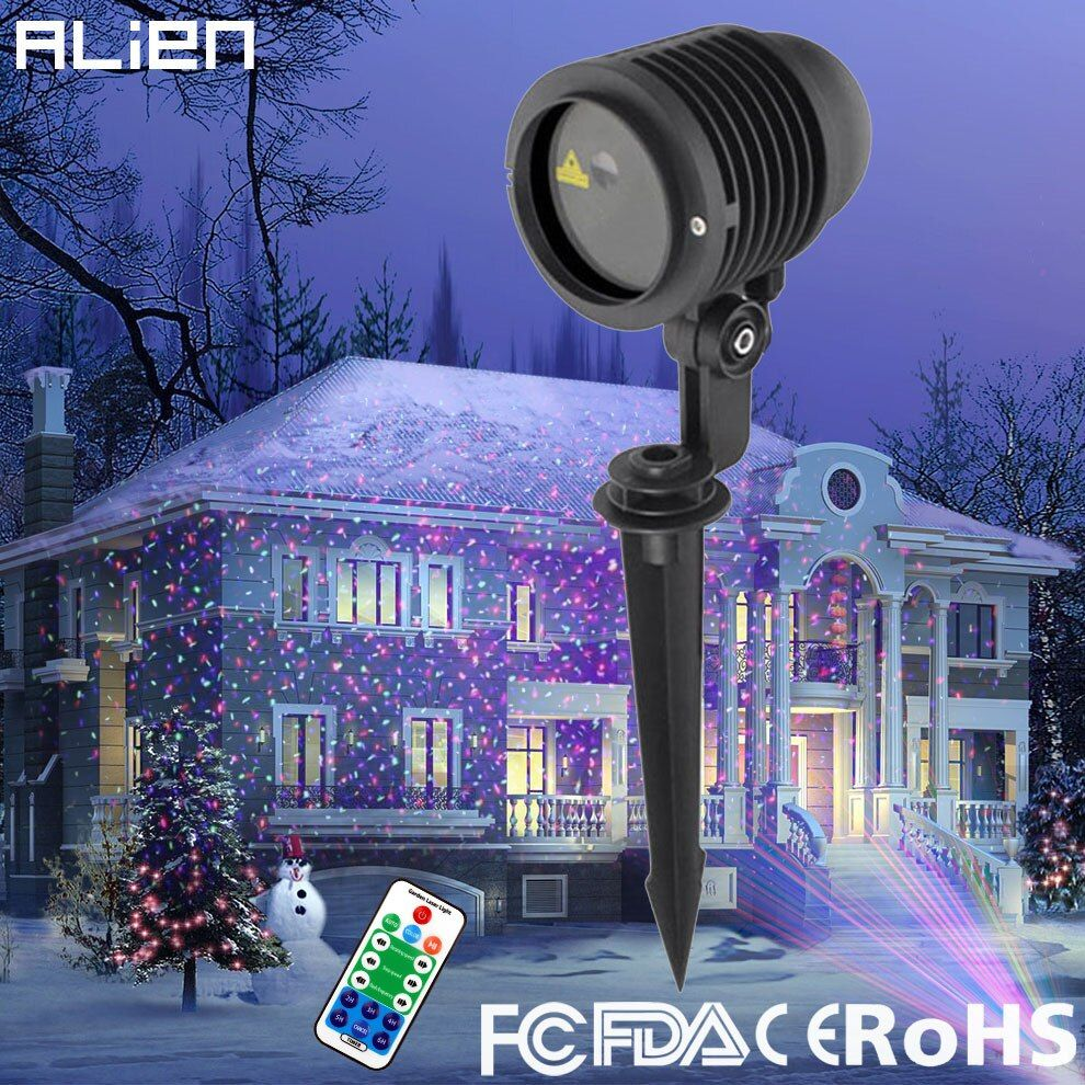 ALIEN RGB Star Outdoor Waterproof Christmas Laser Light Projector Dots Effect Garden Home Xmas Tree Landscape Show Lighting