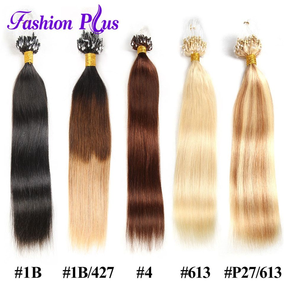 FashionPlus Micro Loop Ring Hair Extension Blonde 613 Remy Micro Bead Hair Extensions 1g/strand Micro Link Human Hair Extensions