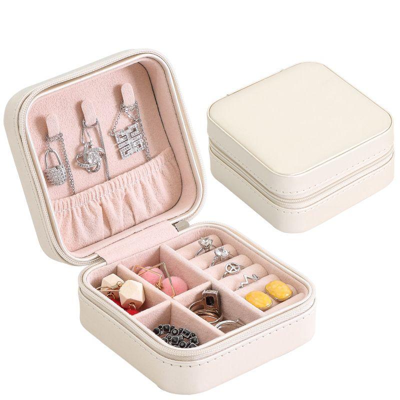 Boîte à bijoux Portable fermeture à glissière en cuir rangement organisateur porte-bijoux emballage affichage voyage bijoux boîte cadeau boîtes pour les femmes