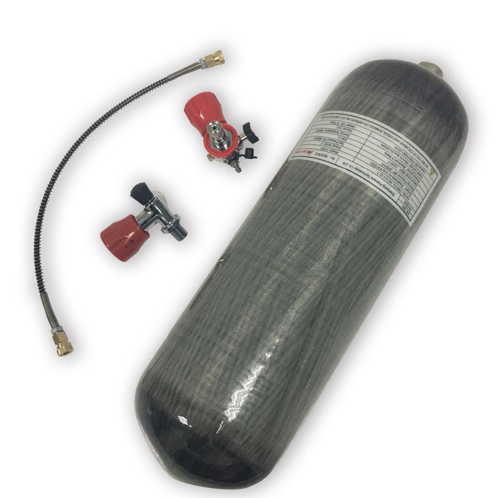 Acecare Förderung Heißer HP Carbon Faser Zylinder 9L Paintball Tank für PCP Air Gun für Jagd mit Rot Ventil und tankstelle