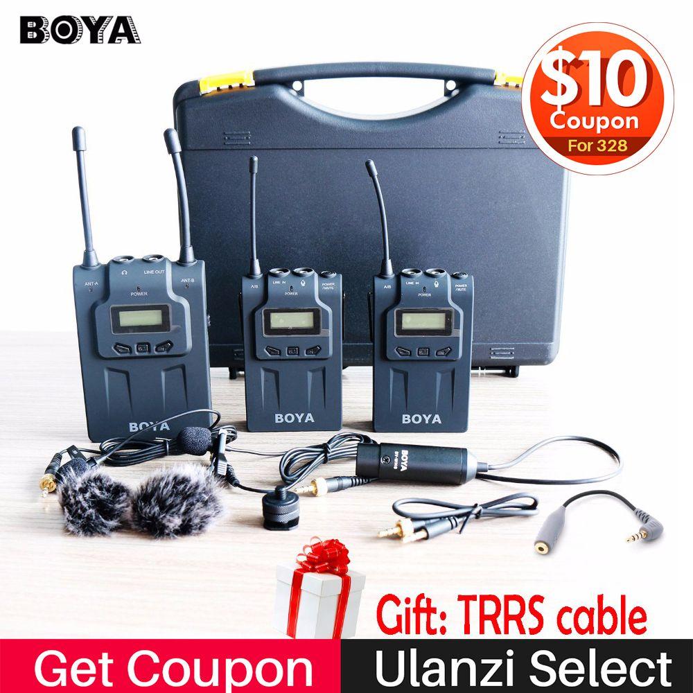 BOYA BY-WM8 Wireless Lavalier-mikrofon Mikrofon für iPhone X 7 Plus 8 Plus Dual Kanal Mikrofon System für Canon Nikon DSLR kameras