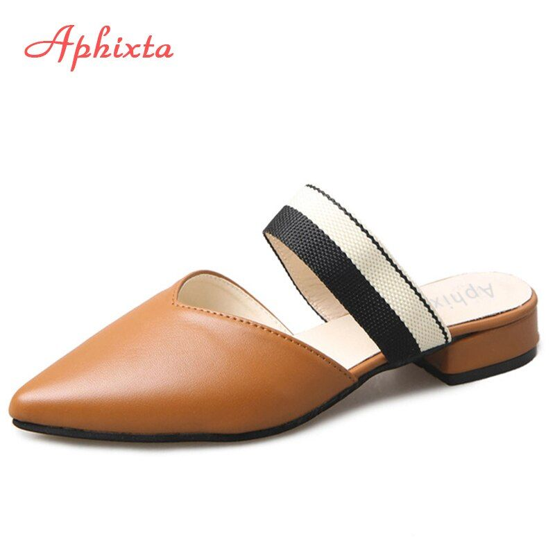 Aphixta Fashion Women Slides Pointed Toe Summer Shoes Square Heels Brown Beige Slipper Women Shoes Mules Outdoor Zapatos <font><b>Mujer</b></font>
